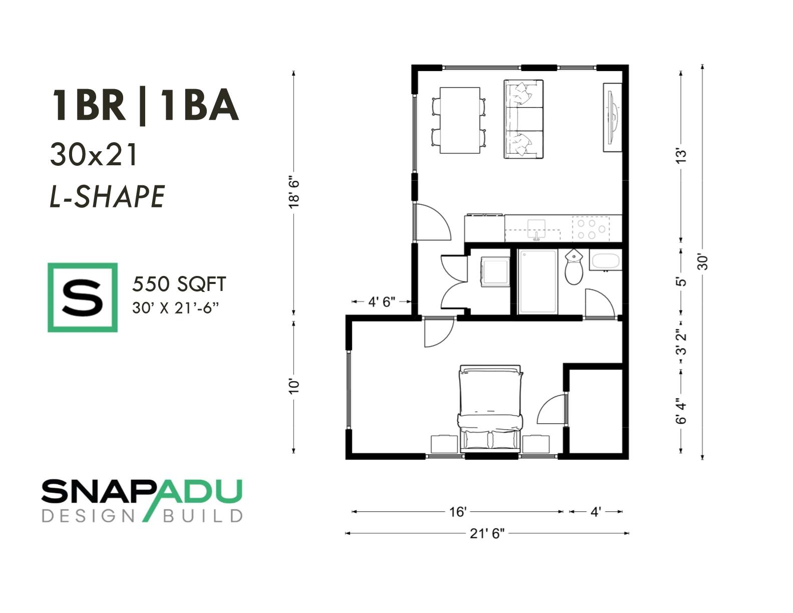 1BR 1BA 550 sqft 30x21 L-SHAPE ADU floor plan