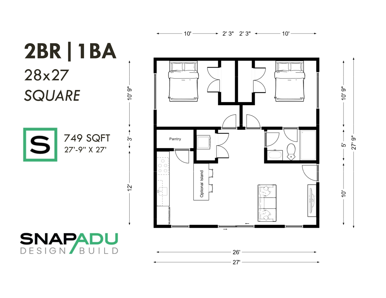 2BR 1BA 749 Sqft 28x27 SQUARE ADU floor plan