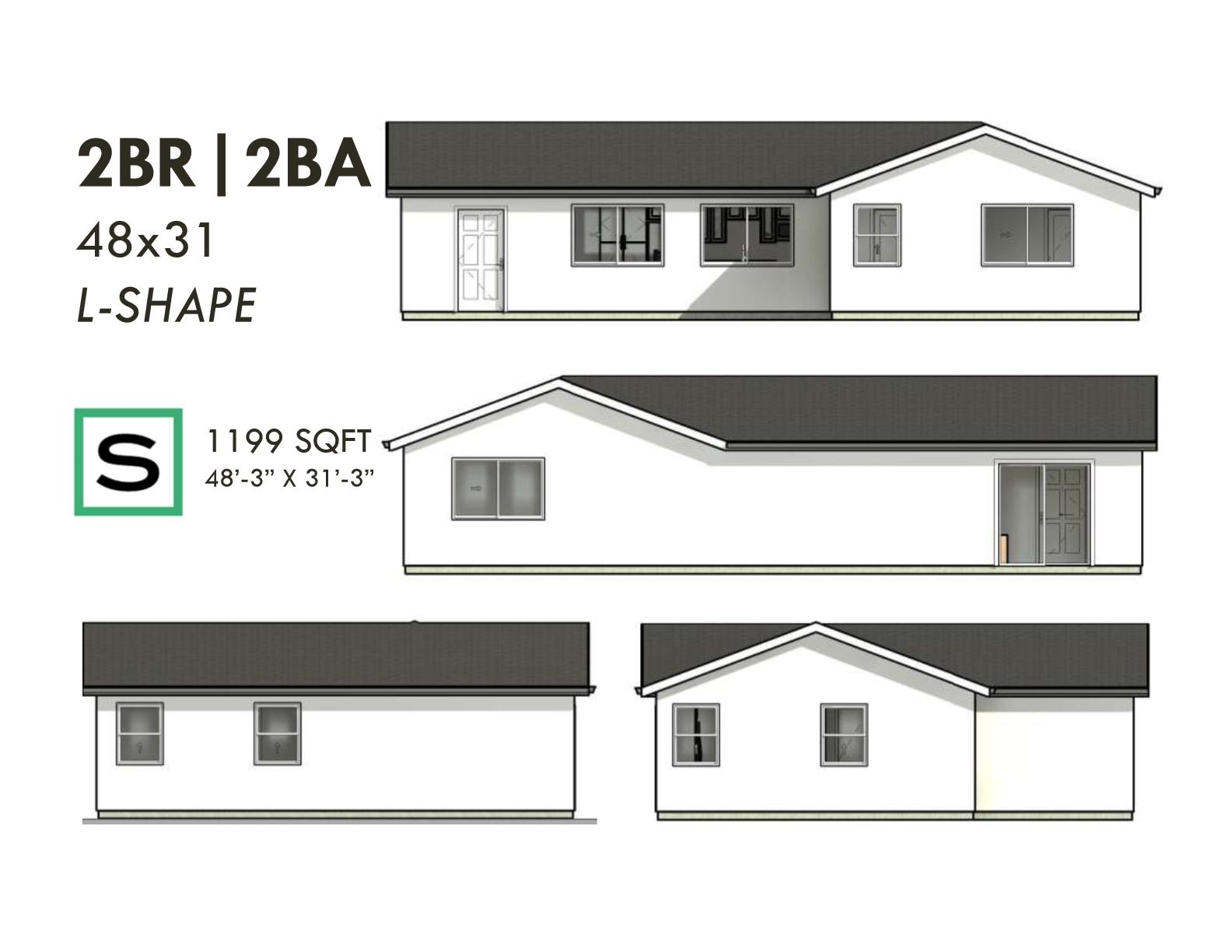 2BR2BA 1199 SF 48x31 L-SHAPE ADU ELEVATION