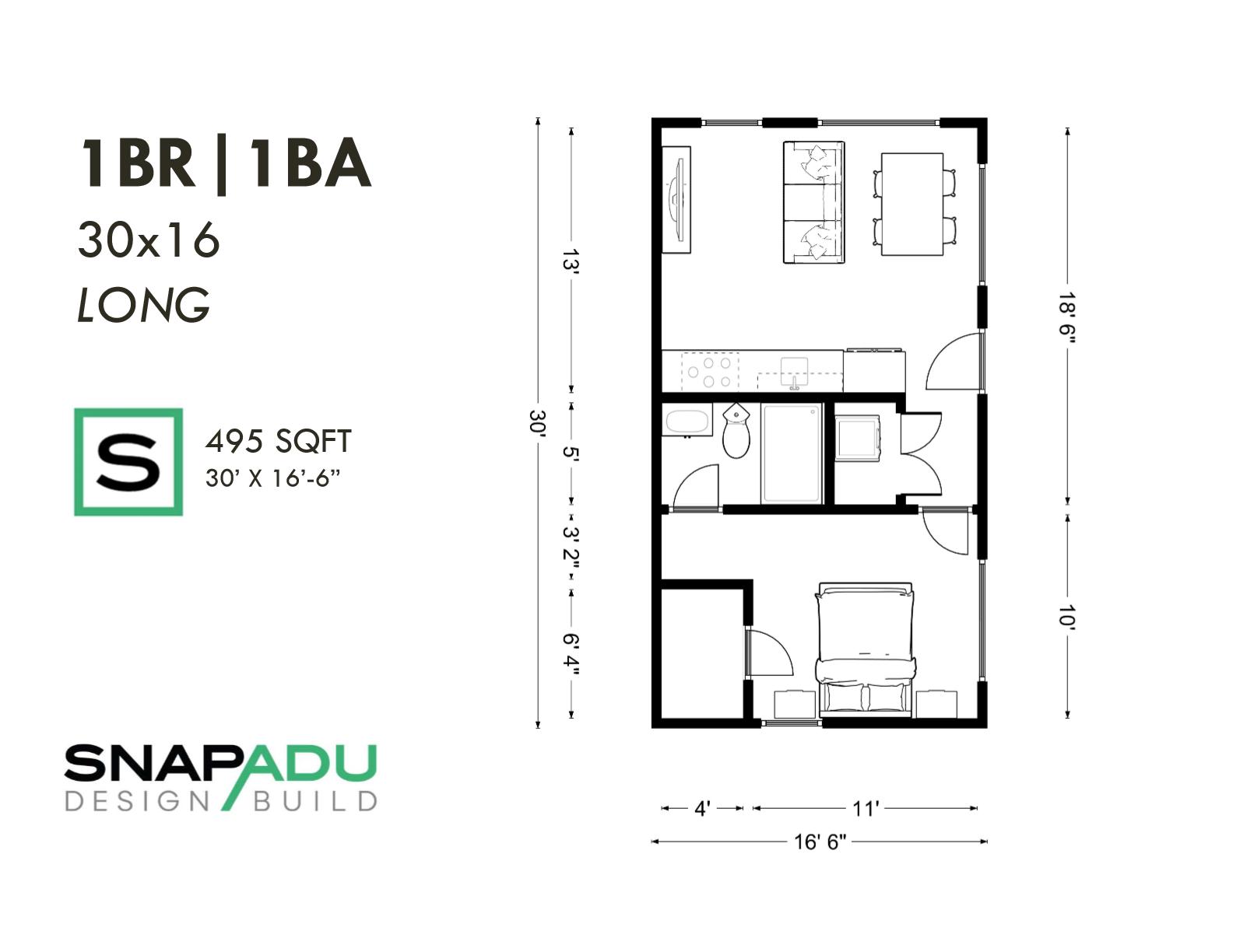 1BR 1BA 500 sqft 30x16 LONG ADU floor plan