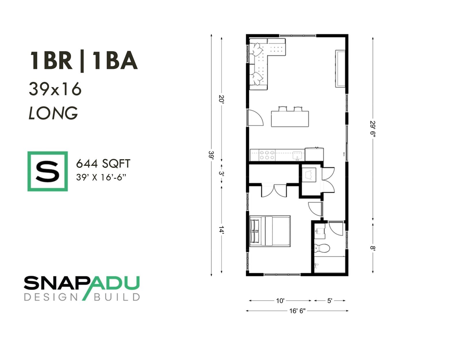 1BR 1BA 650 sqft 39x16 LONG ADU floor plan