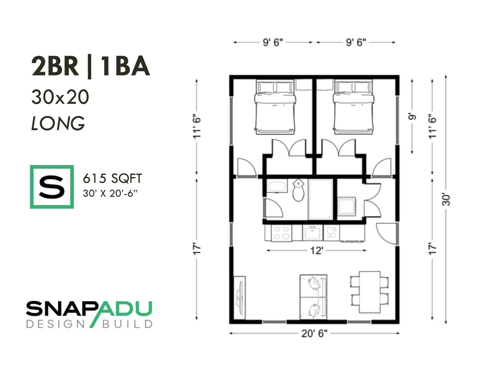 2BR 1BA 600 sqft 30x20 LONG ADU floor plan