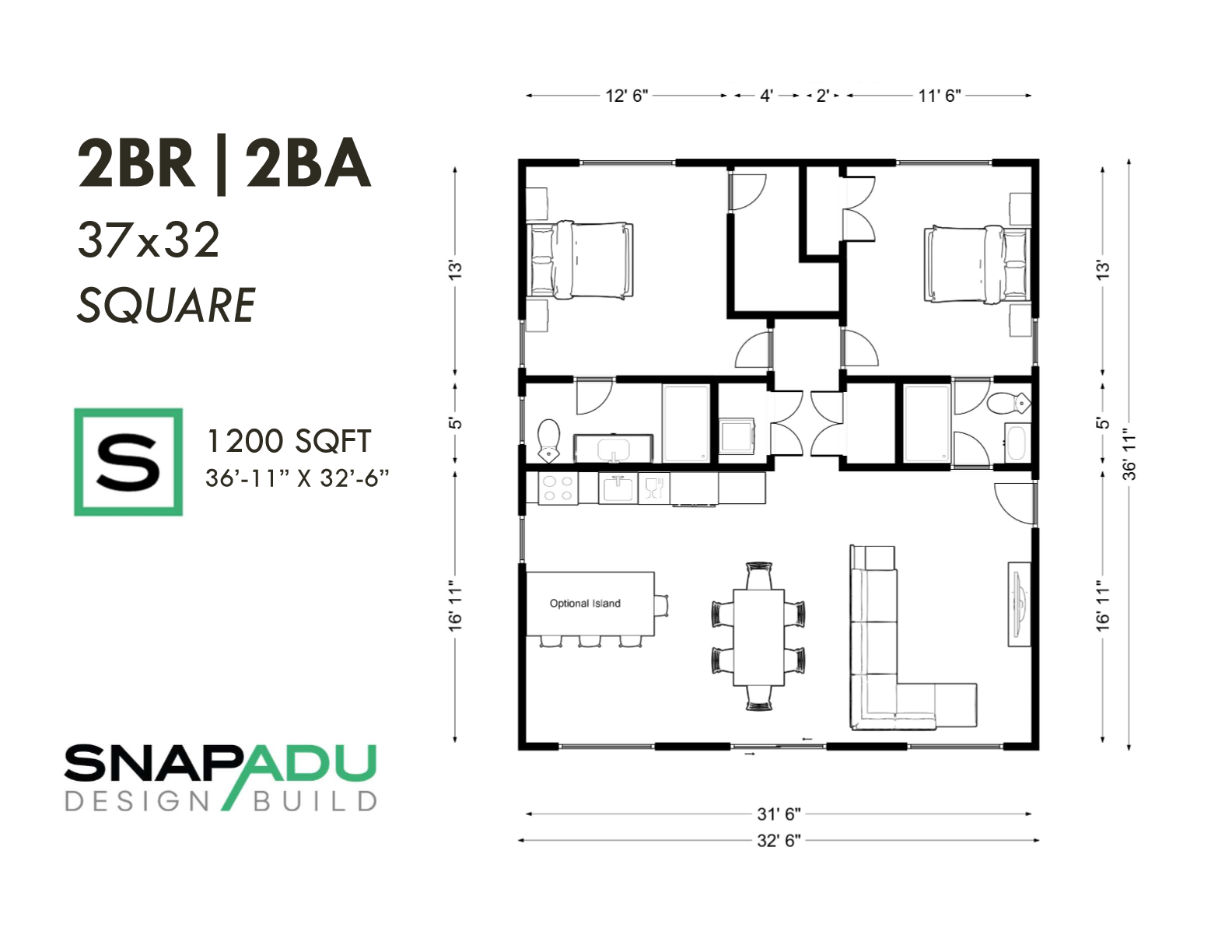 2BR 2BA 1200 sqft 37x32 SQUARE ADU floor plan