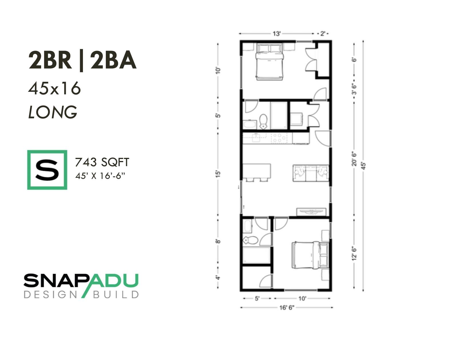 2BR 2BA 750 sqft 45x16 LONG ADU floor plan